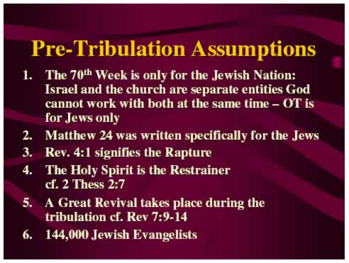 Pre-Tribulations Assumptions